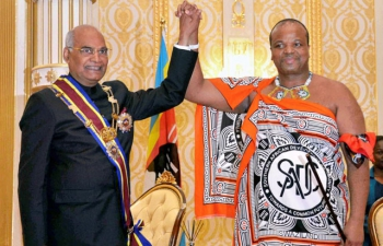 President of India, HE Ram Nath Kovind meeting the King of Eswatini, HE Mswati III on 9th April 2018 at Mbabane