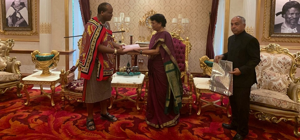 Presentation of Credentials to His Majesty the King of Eswatini 14th October, 2019  by the High Commissioner Radha Venkataraman