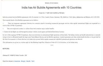 India has Air Bubble Agreements with 10 Countries