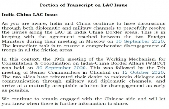 Portion of Transcript on LAC - 22 October 2020